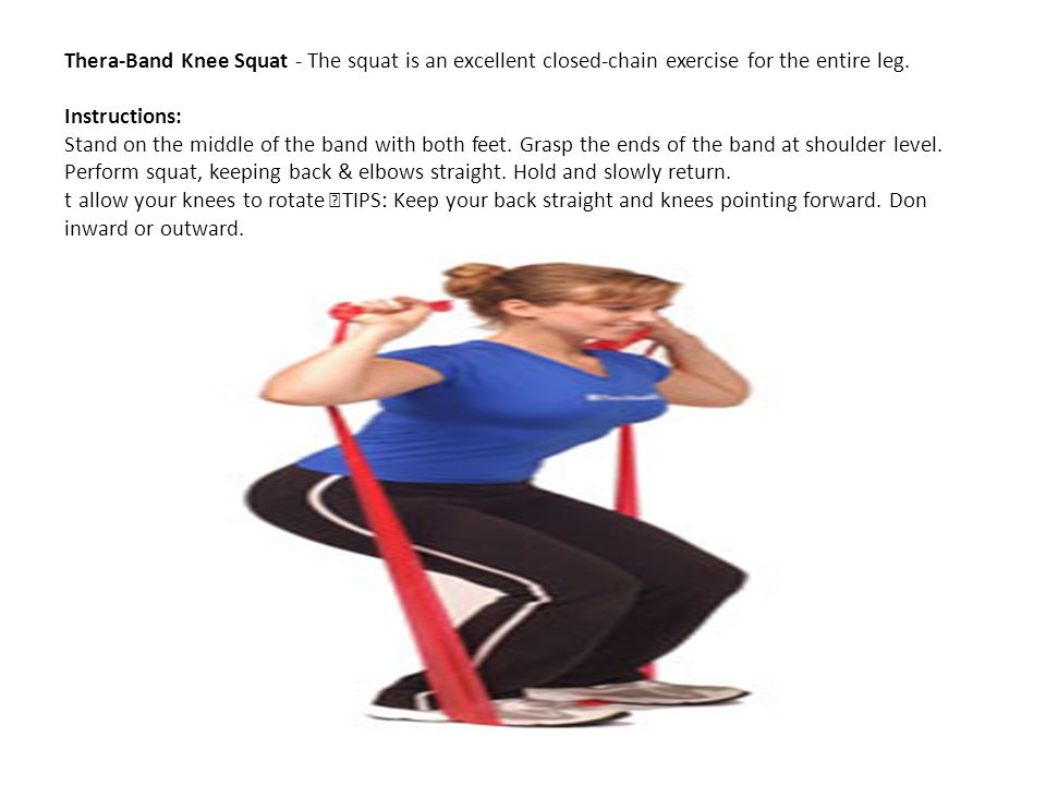 Thera-Band Knee Squat - The squat is an excellent closed-chain exercise for the entire leg.