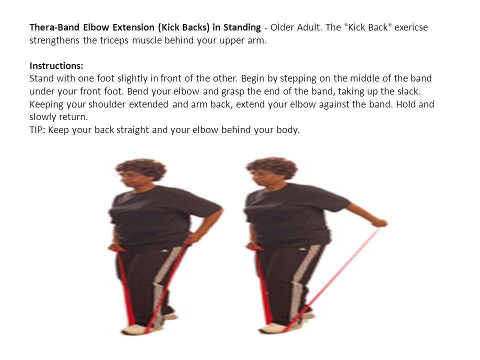 Thera-Band Elbow Extension (Kick Backs) in Standing - Older Adult