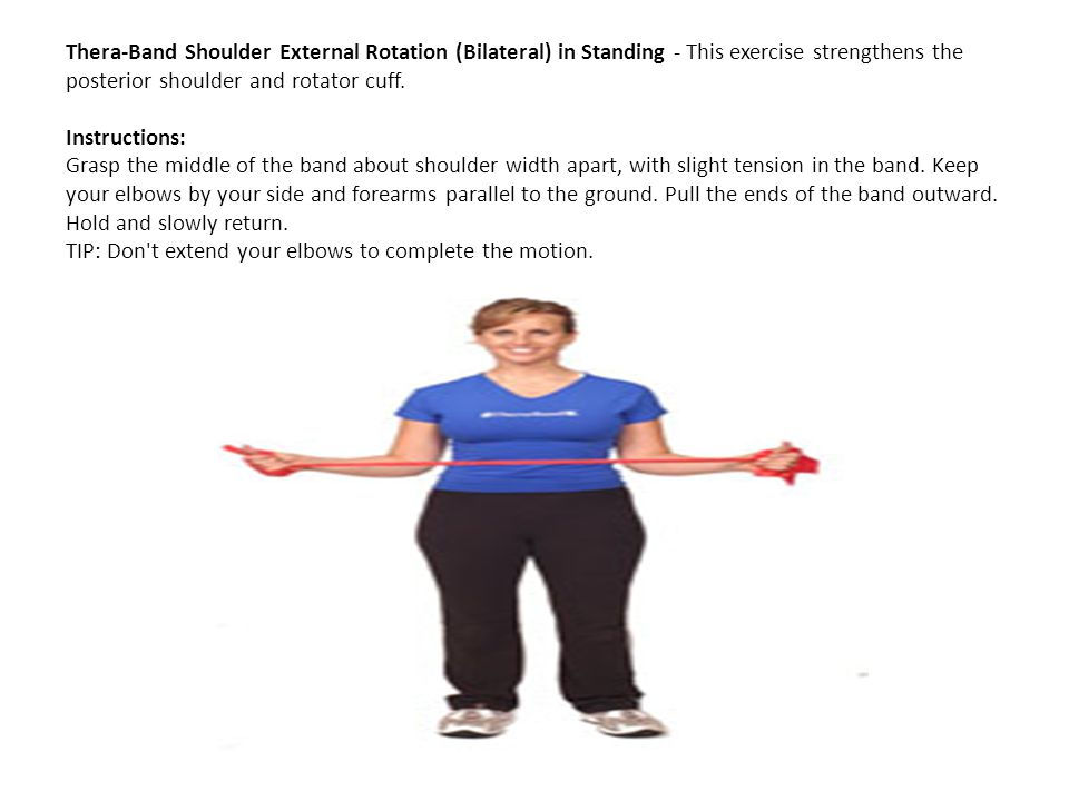 Thera-Band Shoulder External Rotation (Bilateral) in Standing - This exercise strengthens the posterior shoulder and rotator cuff.