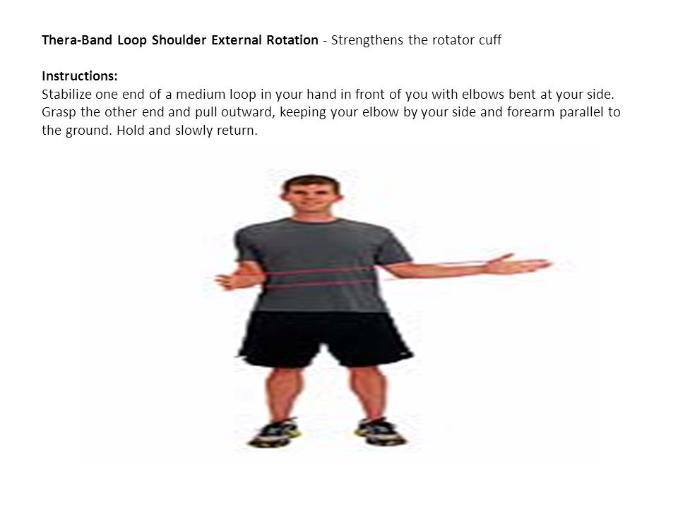 Thera-Band Loop Shoulder External Rotation - Strengthens the rotator cuff Instructions: Stabilize one end of a medium loop in your hand in front of you with elbows bent at your side.