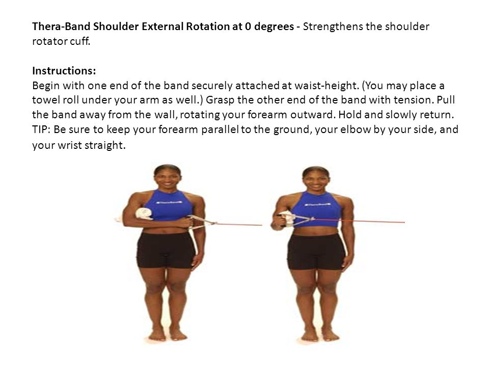 Thera-Band Shoulder External Rotation at 0 degrees - Strengthens the shoulder rotator cuff.