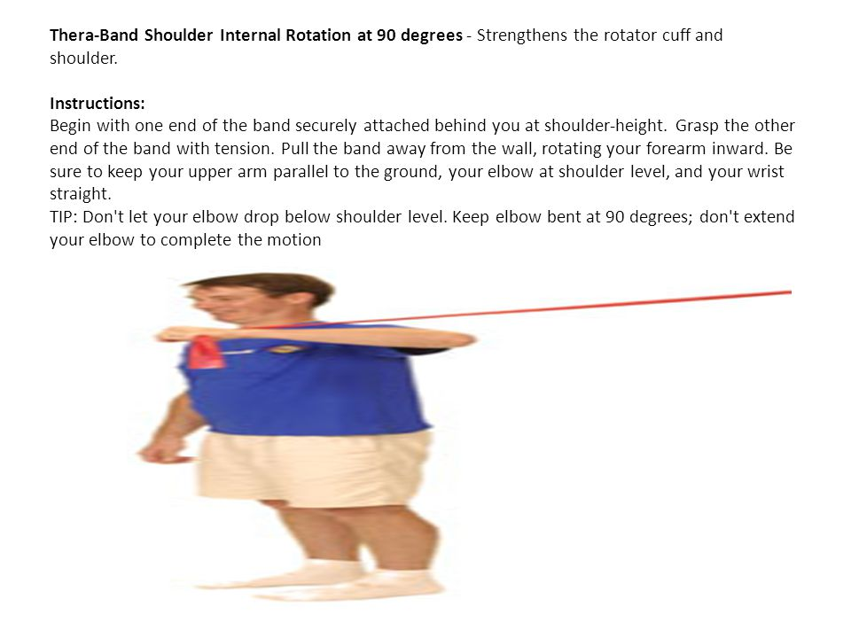 Thera-Band Shoulder Internal Rotation at 90 degrees - Strengthens the rotator cuff and shoulder.