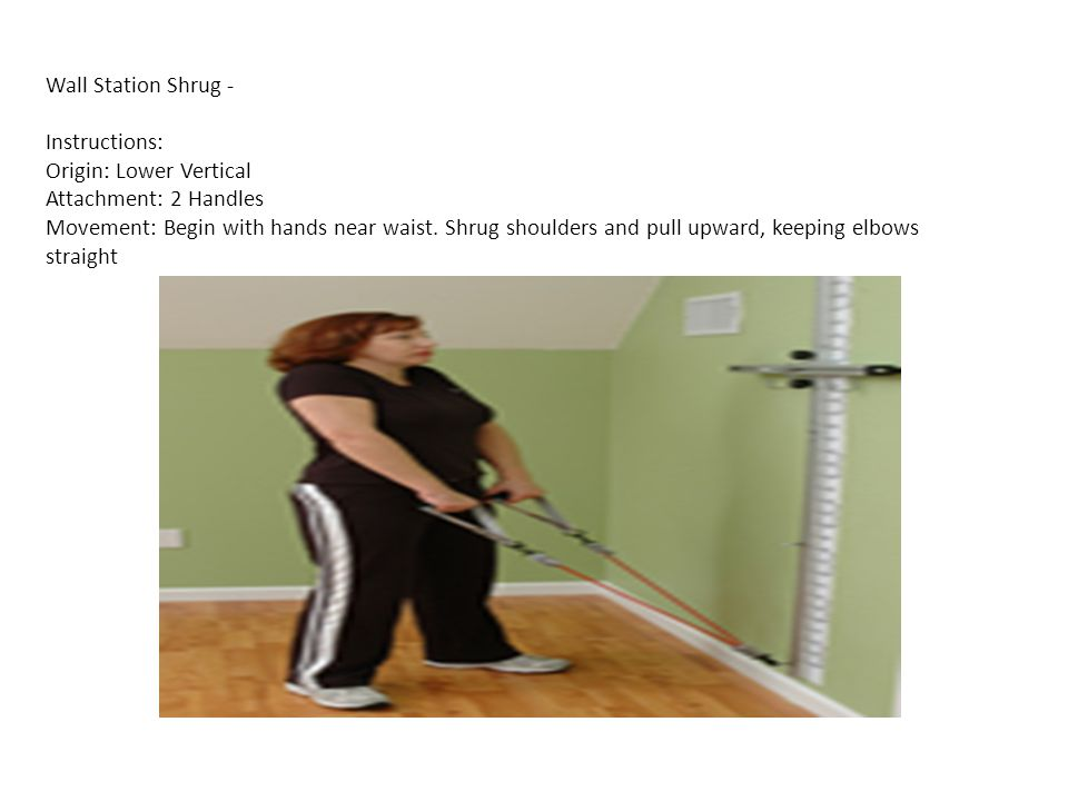 Wall Station Shrug - Instructions: Origin: Lower Vertical Attachment: 2 Handles Movement: Begin with hands near waist.