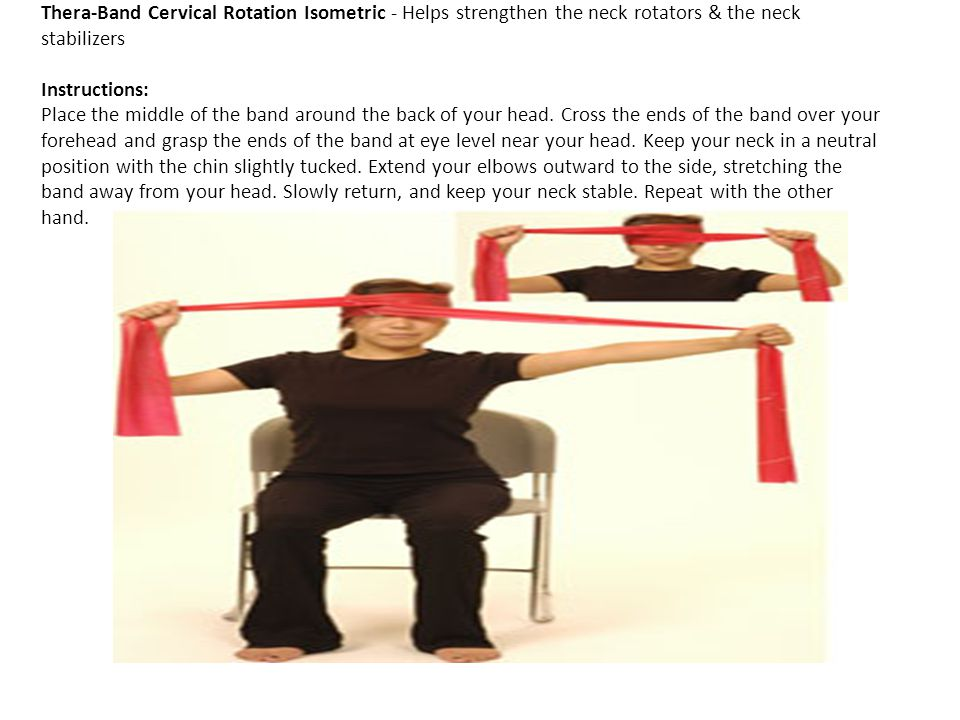 Thera-Band Cervical Rotation Isometric - Helps strengthen the neck rotators & the neck stabilizers Instructions: Place the middle of the band around the back of your head.