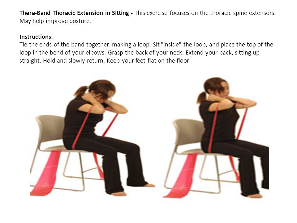 Thera-Band Thoracic Extension in Sitting - This exercise focuses on the thoracic spine extensors.