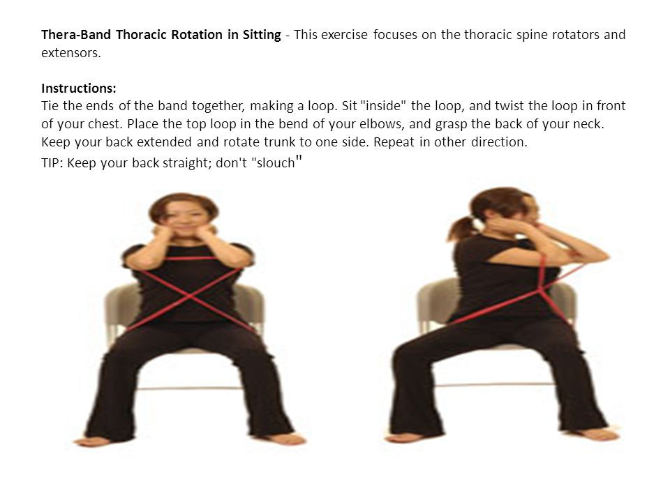 Thera-Band Thoracic Rotation in Sitting - This exercise focuses on the thoracic spine rotators and extensors.