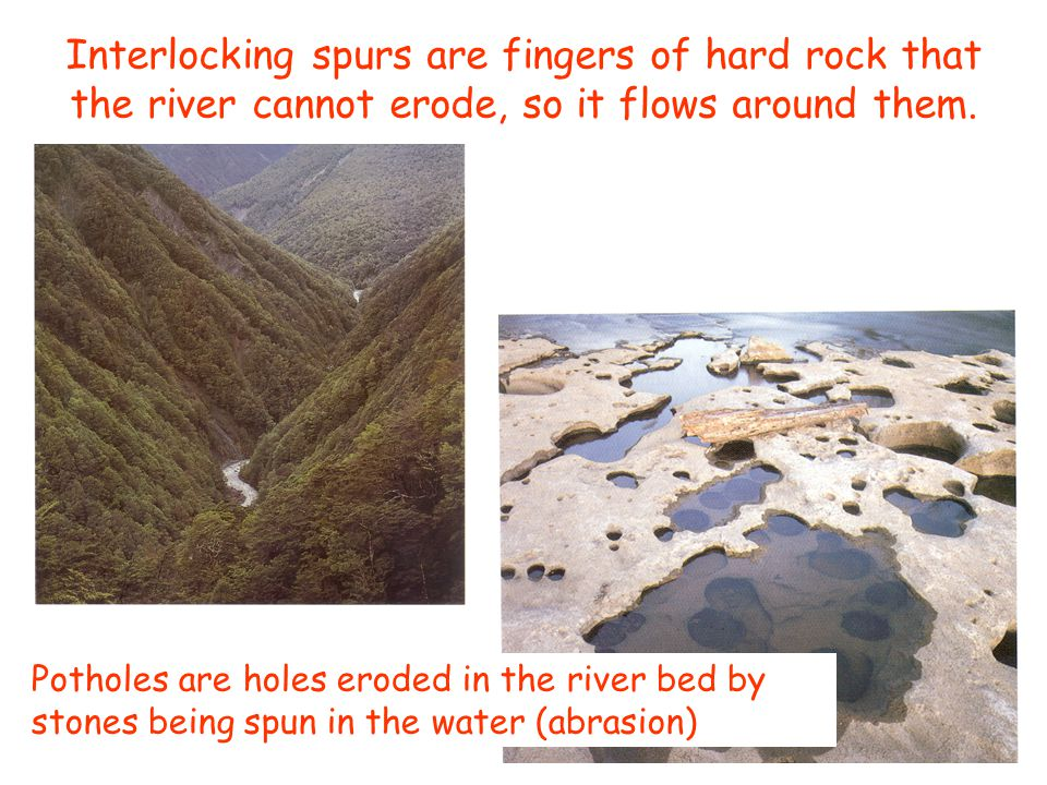 Interlocking spurs are fingers of hard rock that the river cannot erode, so it flows around them.