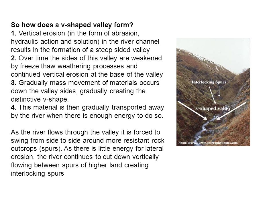 So how does a v-shaped valley form. 1