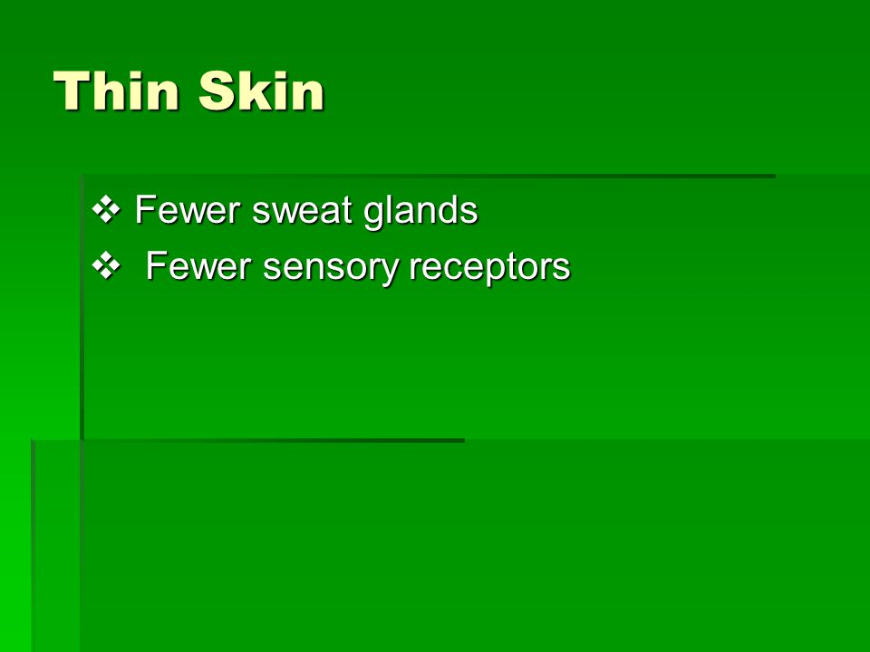 Thin Skin Fewer sweat glands Fewer sensory receptors