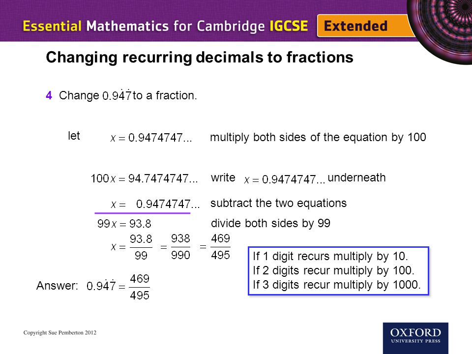 Changing recurring decimals to fractions
