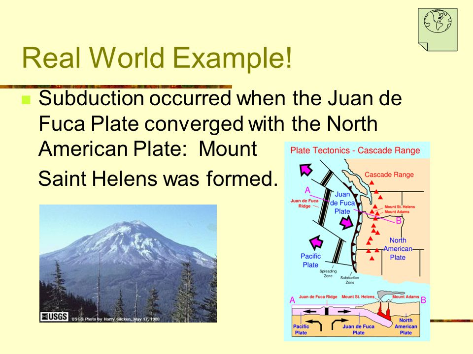 Real World Example! Subduction occurred when the Juan de Fuca Plate converged with the North American Plate: Mount.