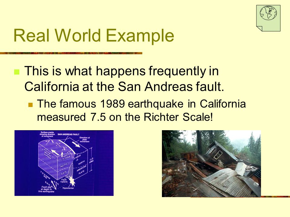 Real World Example This is what happens frequently in California at the San Andreas fault.