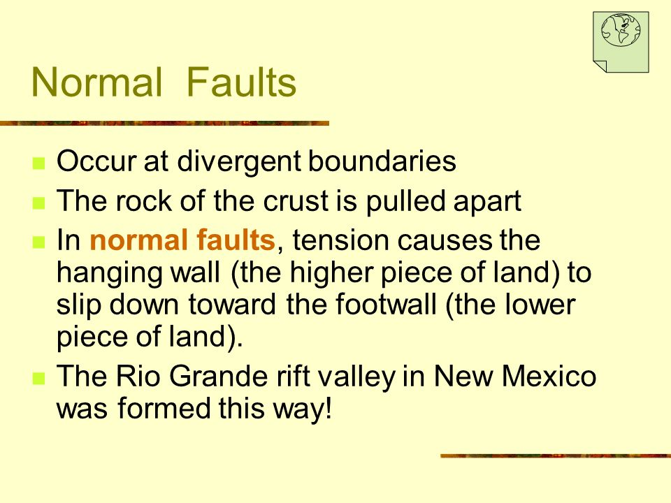 Normal Faults Occur at divergent boundaries