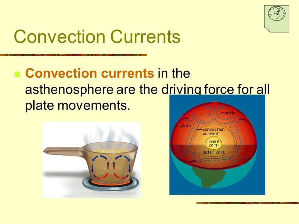 Convection Currents Convection currents in the asthenosphere are the driving force for all plate movements.