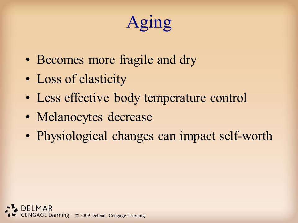 Aging Becomes more fragile and dry Loss of elasticity