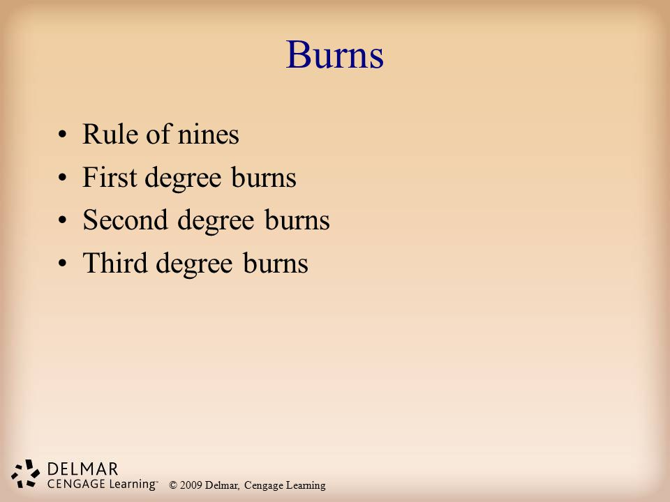 Burns Rule of nines First degree burns Second degree burns