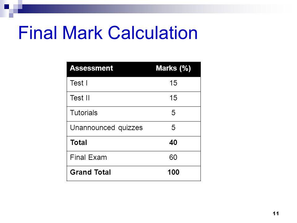 Final Mark Calculation