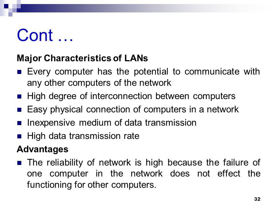 Cont … Major Characteristics of LANs