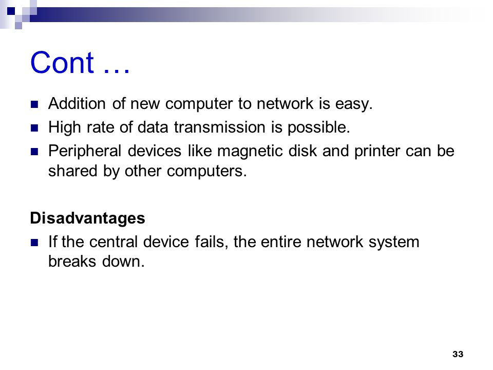 Cont … Addition of new computer to network is easy.