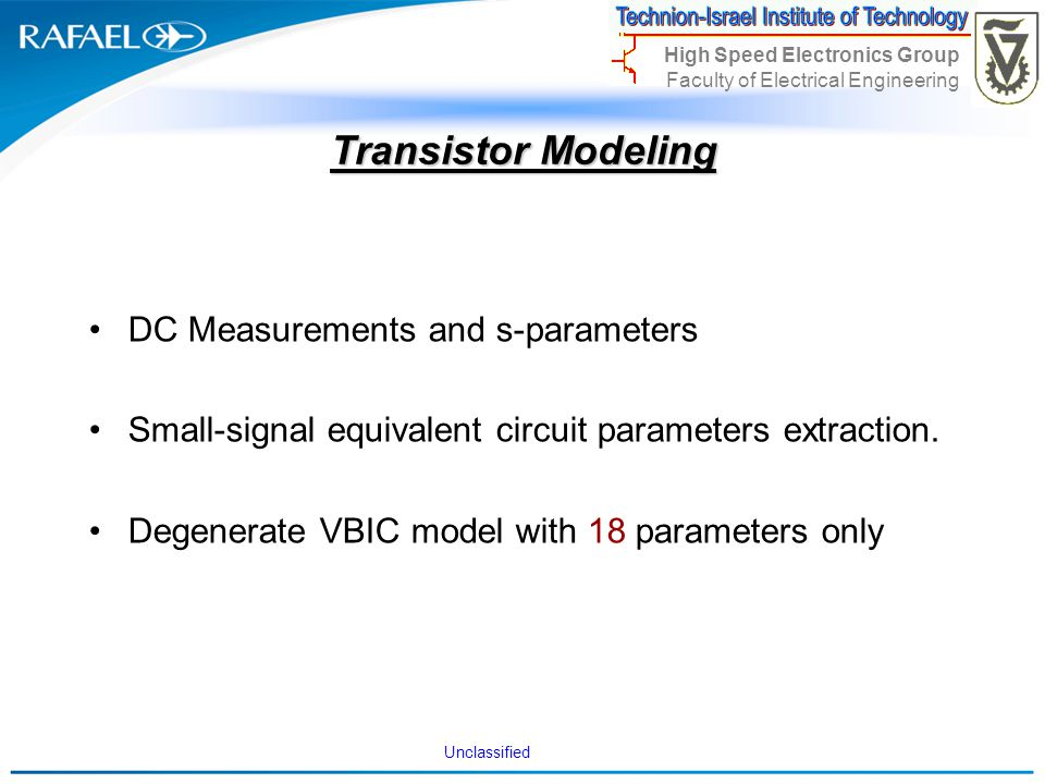 Transistor Modeling DC Measurements and s-parameters