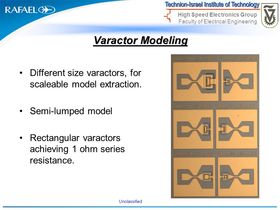Varactor Modeling Different size varactors, for scaleable model extraction. Semi-lumped model.