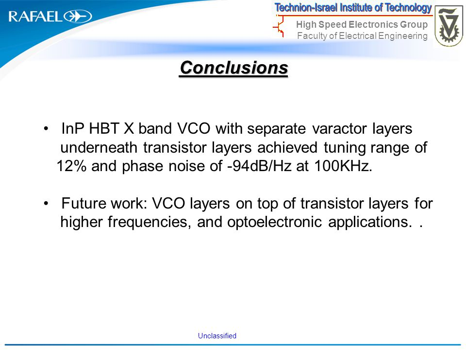 Conclusions InP HBT X band VCO with separate varactor layers