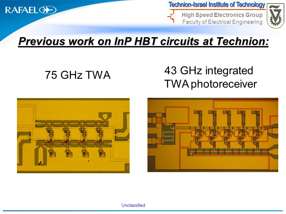 Previous work on InP HBT circuits at Technion: