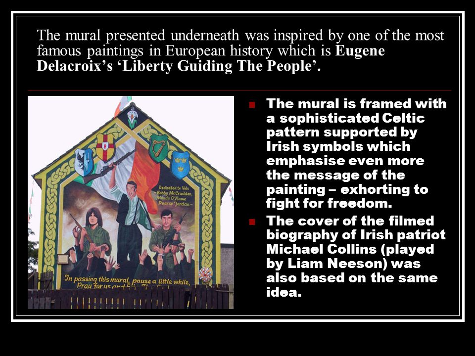 The mural presented underneath was inspired by one of the most famous paintings in European history which is Eugene Delacroix's 'Liberty Guiding The People'.