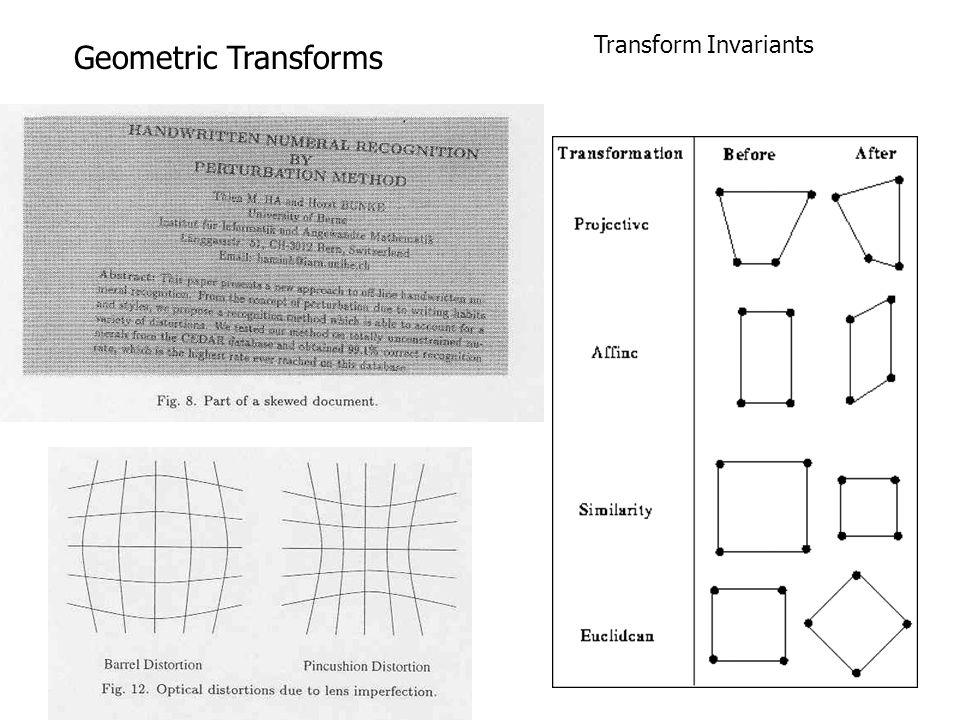 Transform Invariants Geometric Transforms