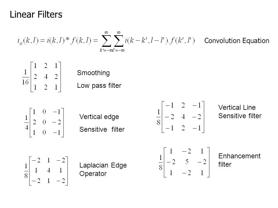 Linear Filters Convolution Equation Smoothing Low pass filter