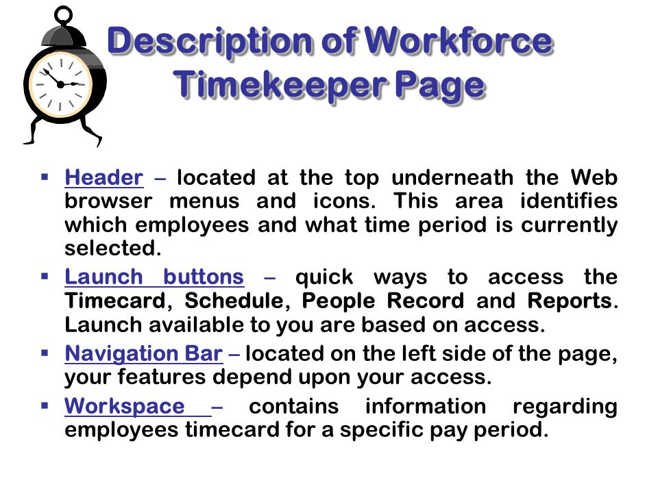 Description of Workforce Timekeeper Page