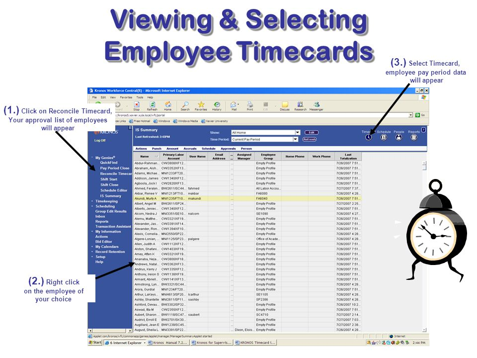 Viewing & Selecting Employee Timecards