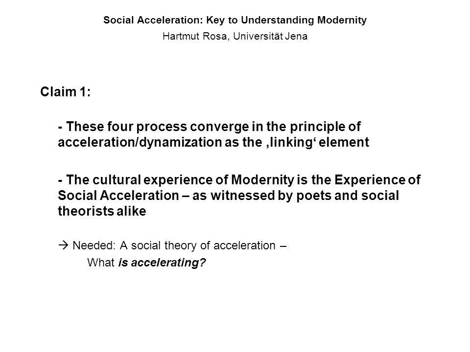 Social Acceleration: Key to Understanding Modernity Hartmut Rosa, Universität Jena