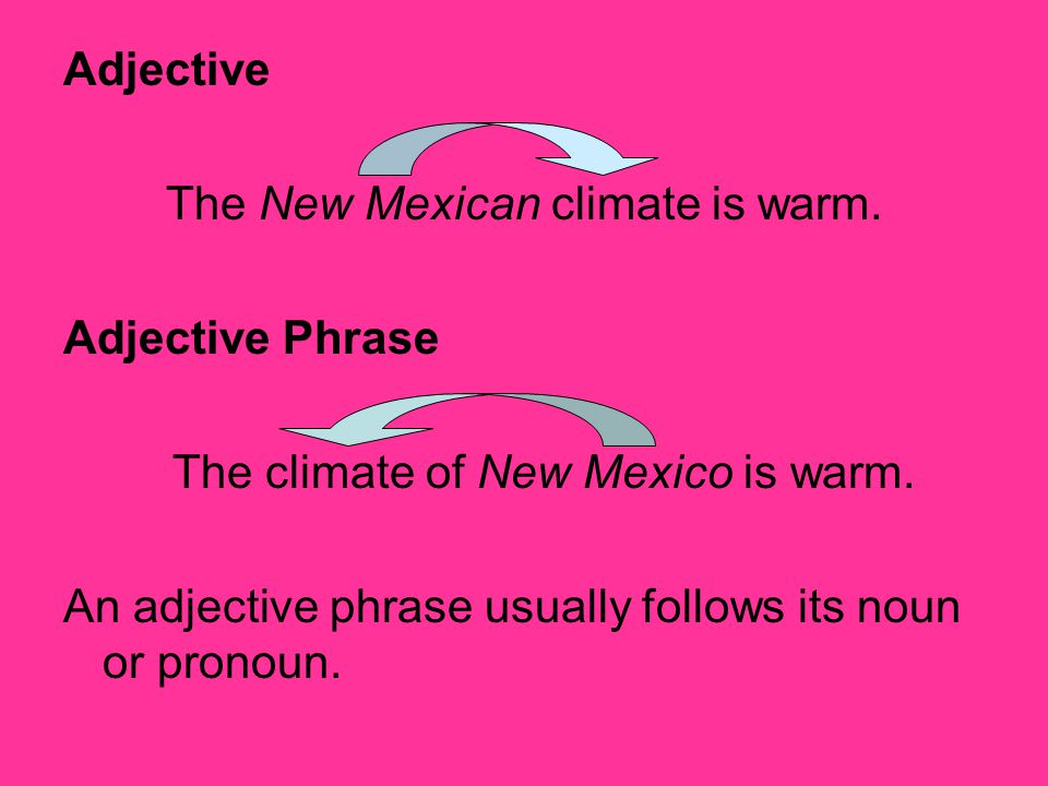 The New Mexican climate is warm. Adjective Phrase