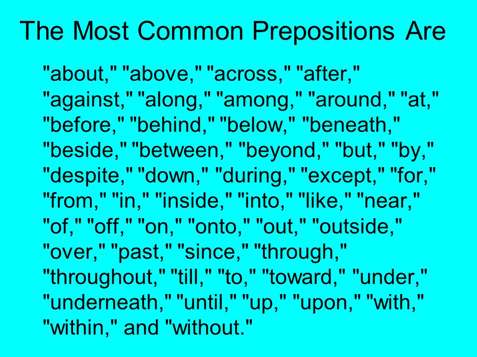 The Most Common Prepositions Are