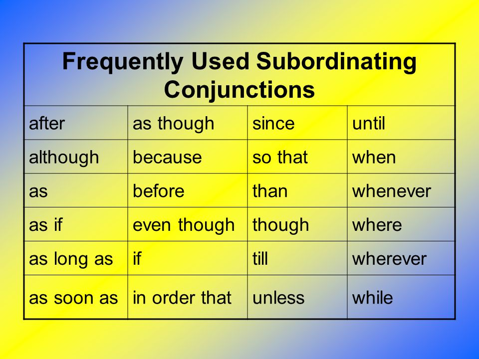 Frequently Used Subordinating Conjunctions