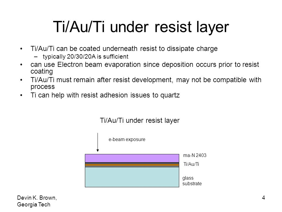 Ti/Au/Ti under resist layer