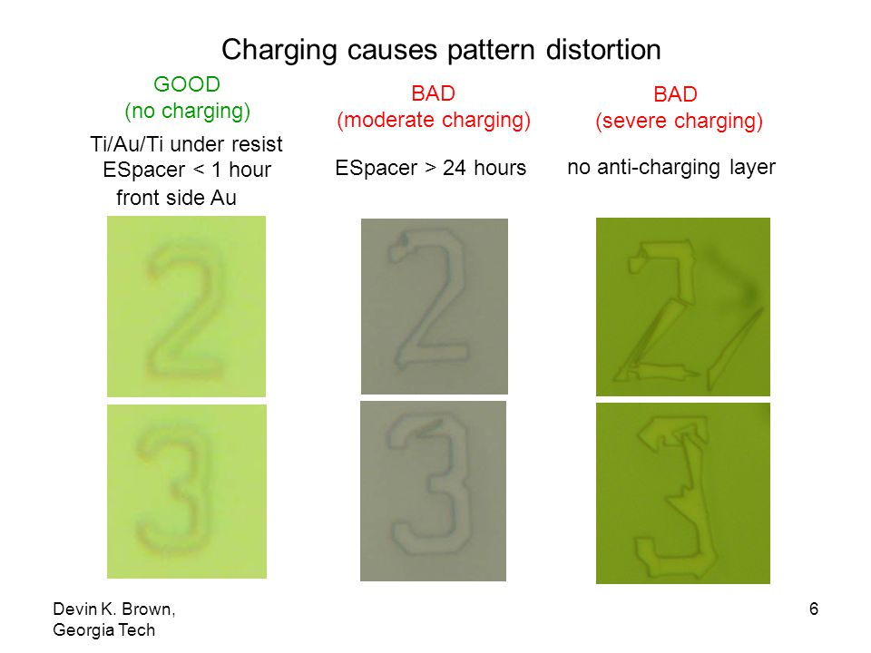 Charging causes pattern distortion