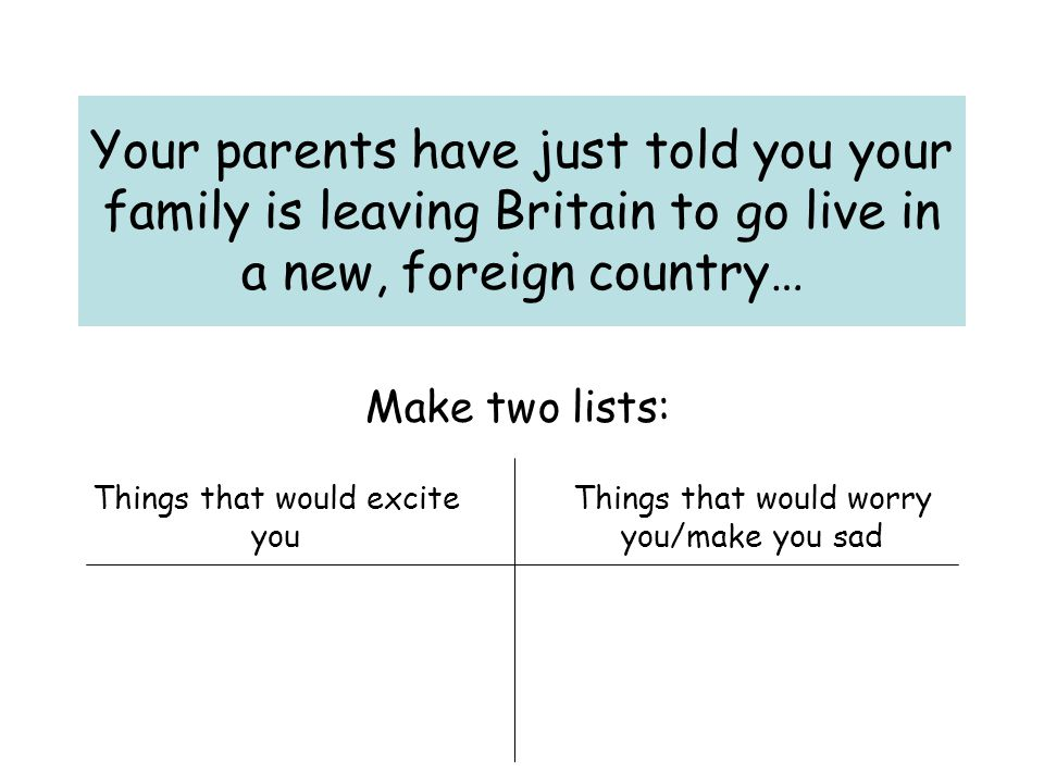 Your parents have just told you your family is leaving Britain to go live in a new, foreign country…
