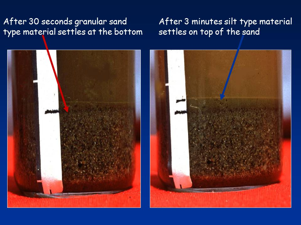 After 30 seconds granular sand type material settles at the bottom