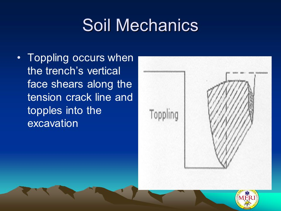 Soil Mechanics Toppling occurs when the trench's vertical face shears along the tension crack line and topples into the excavation.
