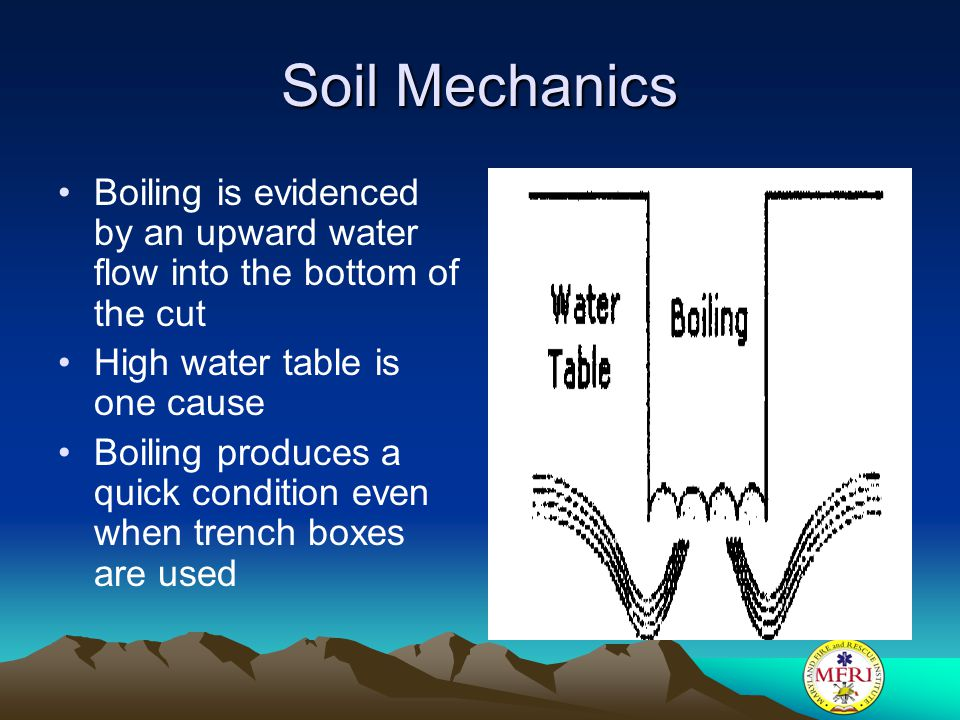 Soil Mechanics Boiling is evidenced by an upward water flow into the bottom of the cut. High water table is one cause.