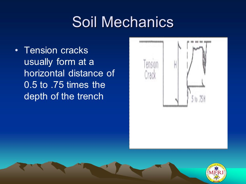 Soil Mechanics Tension cracks usually form at a horizontal distance of 0.5 to .75 times the depth of the trench.
