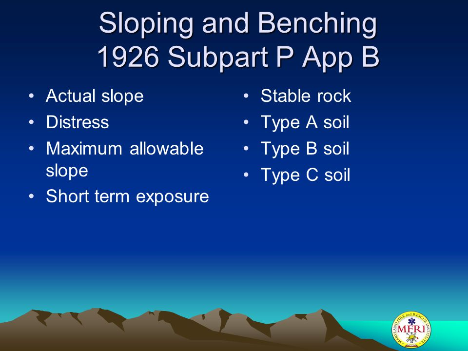 Sloping and Benching 1926 Subpart P App B