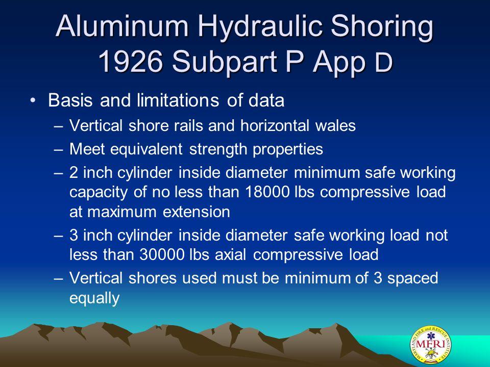 Aluminum Hydraulic Shoring 1926 Subpart P App D