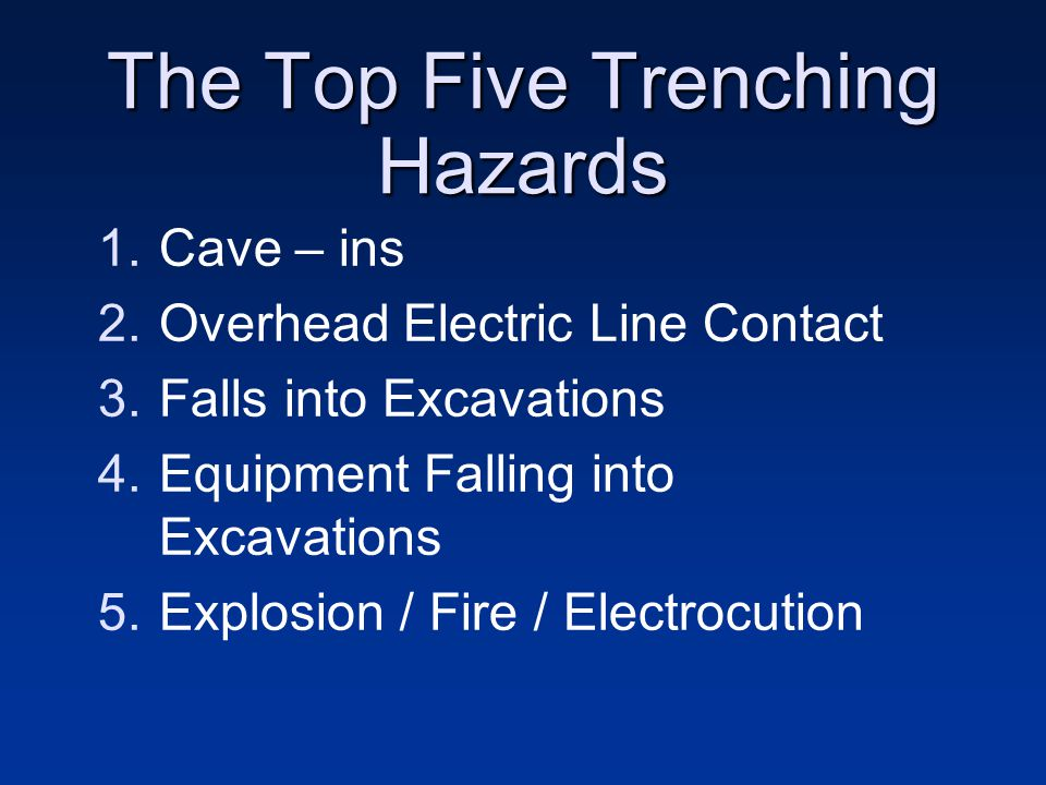 The Top Five Trenching Hazards