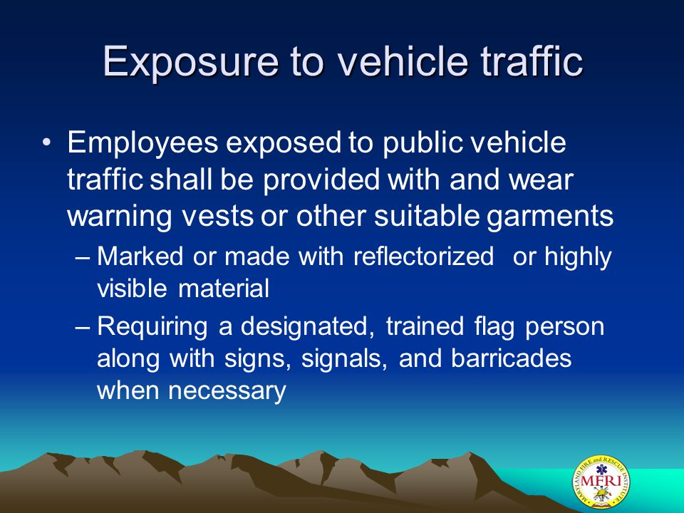 Exposure to vehicle traffic