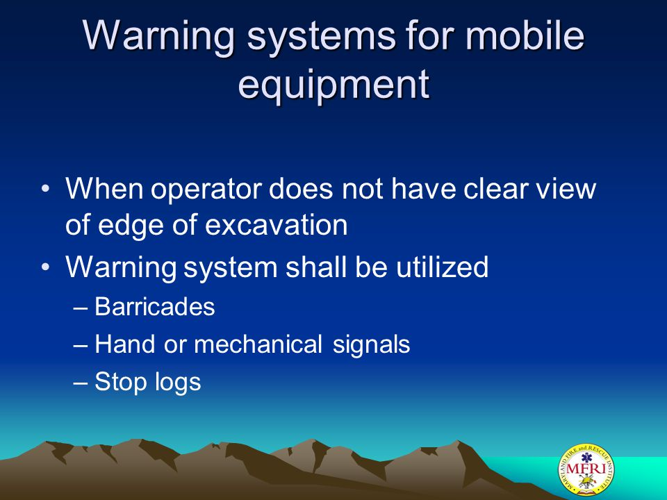 Warning systems for mobile equipment