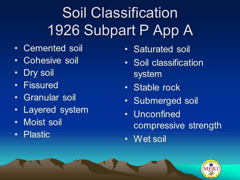 Soil Classification 1926 Subpart P App A