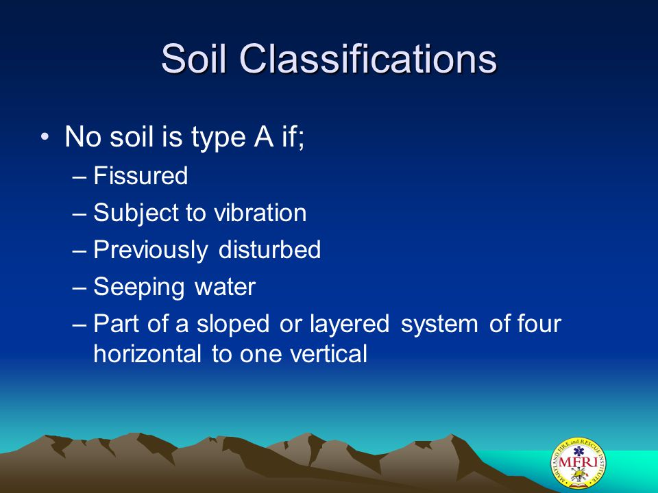 Soil Classifications No soil is type A if; Fissured